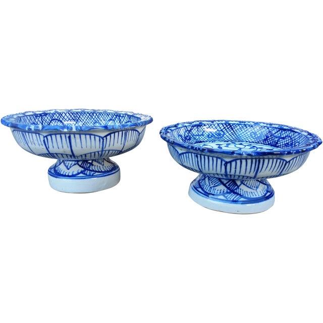 Antique Blue & White Terracotta Bowls- A Pair - Image 1 of 4