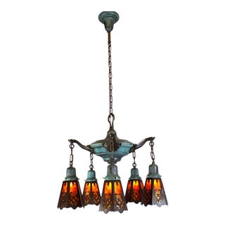 5 Light Verdigris Pan Fixture With Cut-Out Mica Shades