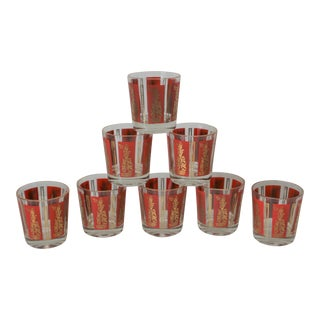 Mid-Century Red & Gold Mandalay Thai Goddess Rock Glasses - Set of 8