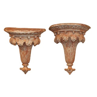 Pair of Antique Carved Wall Brackets