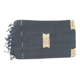 Myanmar Indigo Blue & Tan Cotton Throw Blanket
