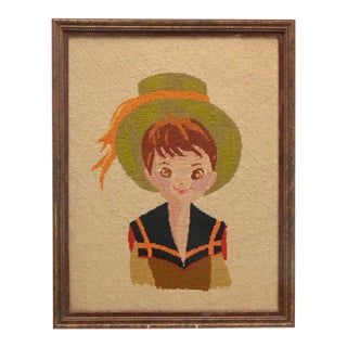 Vintage Boy in Hat Embroidery