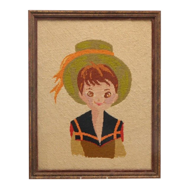 Vintage Boy in Hat Embroidery - Image 1 of 4