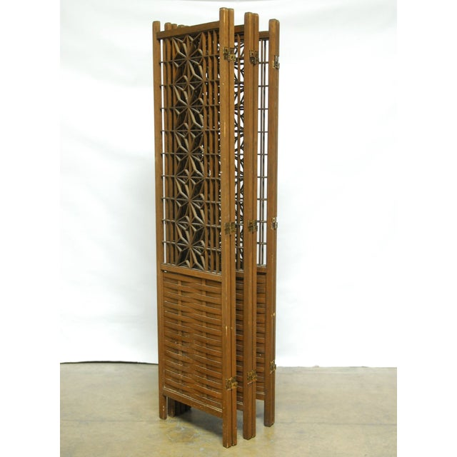 Image of Mid-Century Six Panel Folding Geometric Screen