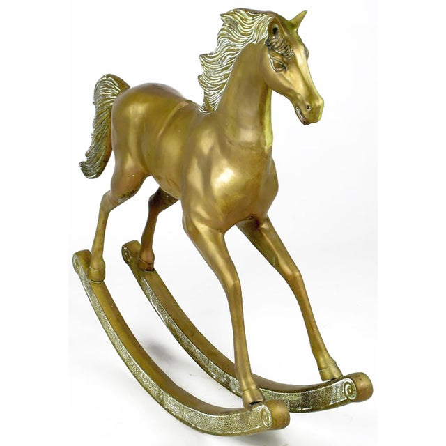 "Unusual 35"" Tall Brass Rocking Horse - Image 2 of 8"