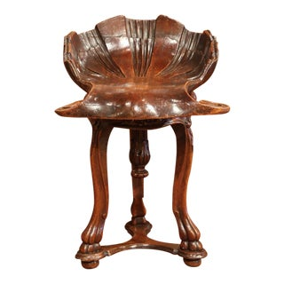 19th Century French Carved Walnut Adjustable Shell Shaped Piano Stool