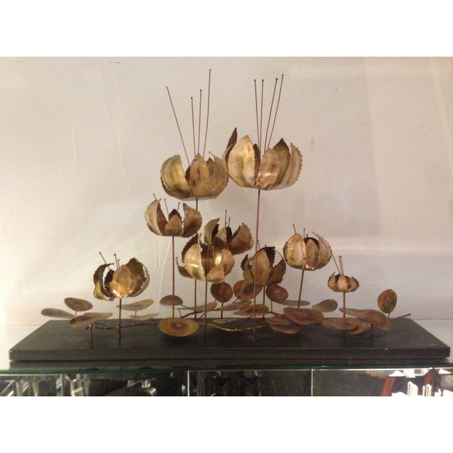Image of C. Jere Brass Floral Table Sculpture
