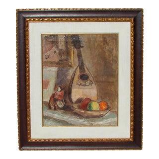 """Bernard Gussow """"Still Life with Mandolin"""" Painting"""