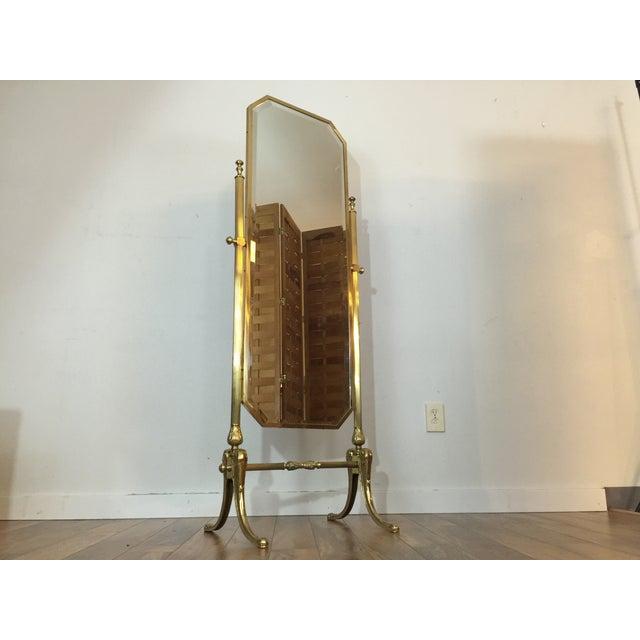 Vintage Brass Cheval Standing Floor Mirror Chairish