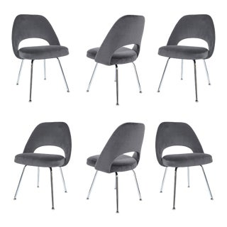 Saarinen Executive Armless Chairs in Gunmetal Grey Velvet, Set of Six