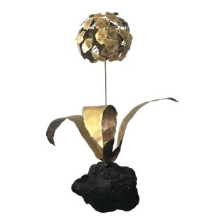 Brutalist Brass Flower Sculpture