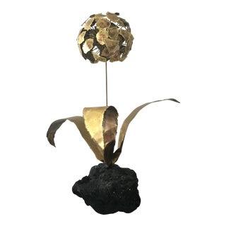 Brutalist Brass Flower Sculpture