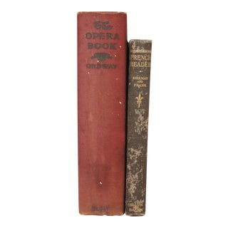 Antique French and Opera Burgundy Books - Pair