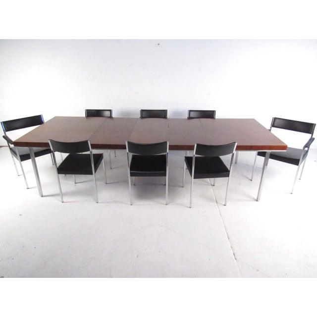 John Stuart Rosewood, Chrome & Leather Dining Set - Image 2 of 11