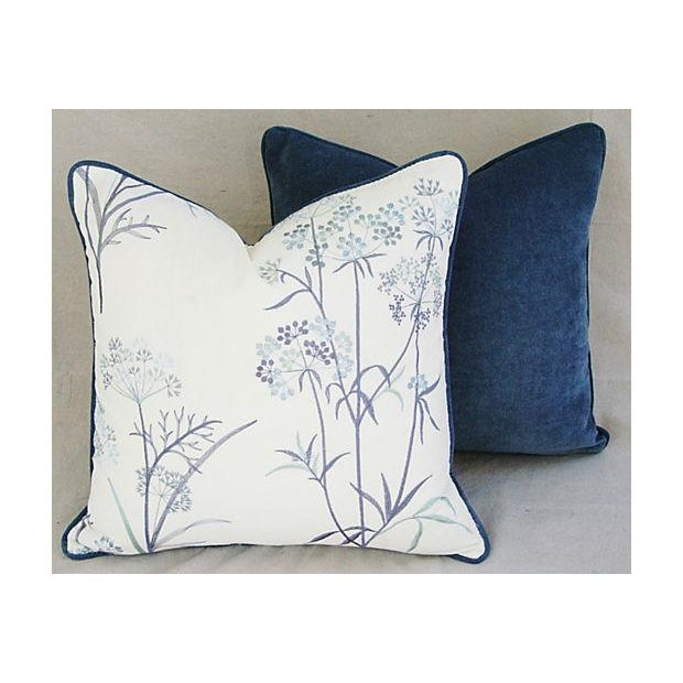 Designer Embroidered Blue Flower Pillows - A Pair - Image 6 of 8