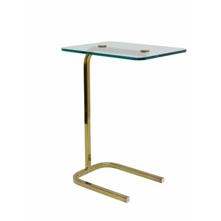 Brass & Glass Cantilever Side Table