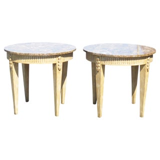 Directoire Style Marbletop Side Tables - A Pair