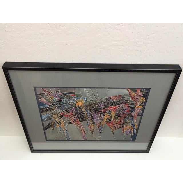 Image of Geometric Abstract Watercolor Painting
