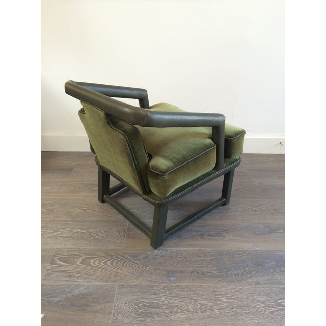Green Leather & Mohair Lounge Chair - Image 4 of 10