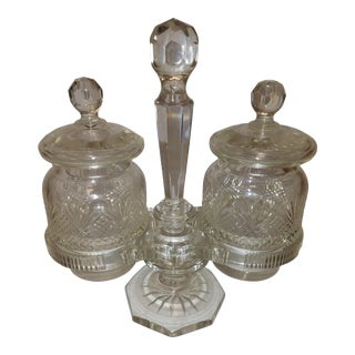 Antique Cut Crystal Jam Jars & Stand