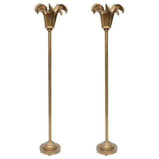 Brass Art Deco Floor Lamps - A Pair