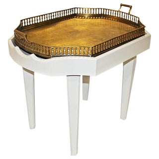 Ivory Chinoiserie-Style Brass Tray Cocktail Table