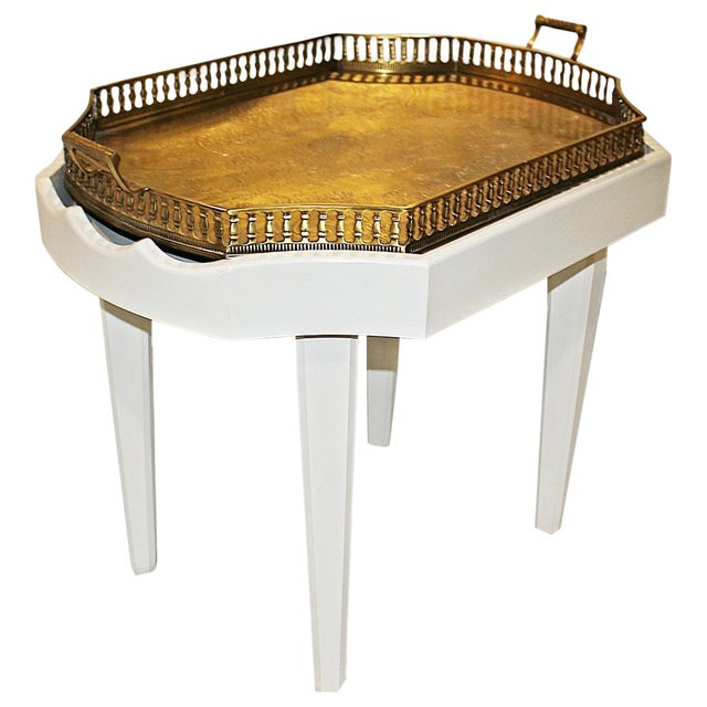 Ivory Chinoiserie Style Brass Tray Cocktail Table Chairish