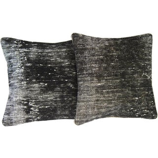 Black Handmade Over-Dyed Pillow Covers - Pair