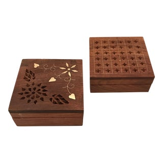 Wood & Inlaid Brass Boxes - A Pair