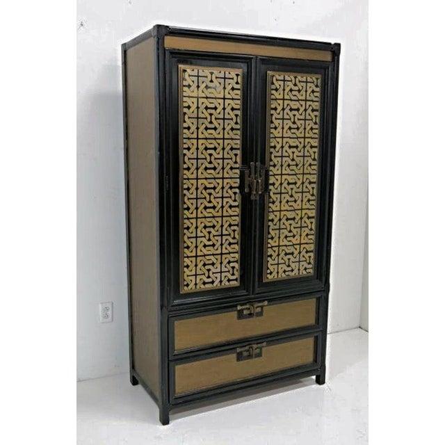 Mid-Century Gold Black Laquer Armoire Wardrobe - Image 2 of 10