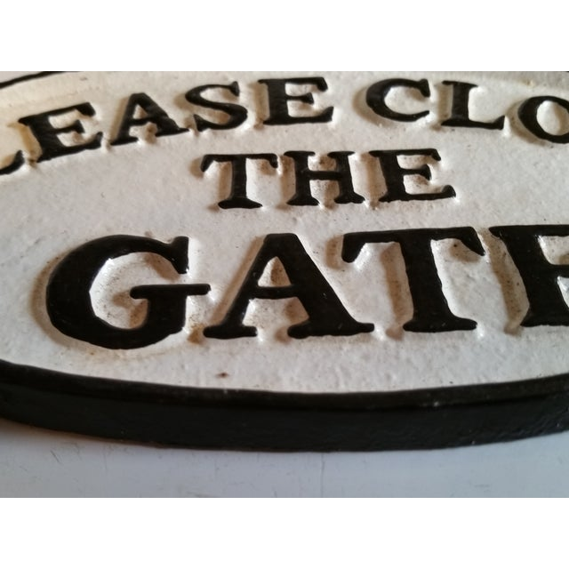 Cast Iron 'Please Close the Gate' Sign - Image 3 of 3