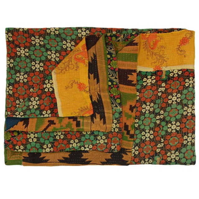 Vintage Floral Yellow Kantha Quilt - Image 1 of 2