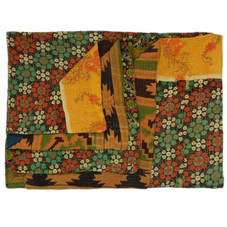 Vintage Floral Yellow Kantha Quilt