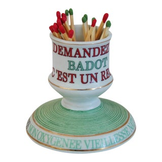 Parisian Cafe French Porcelain Match Striker & Holder