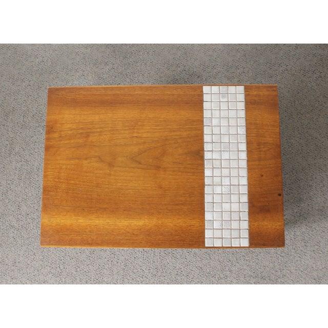Lane Mid-Century Tile & Wood End Table - Image 5 of 10