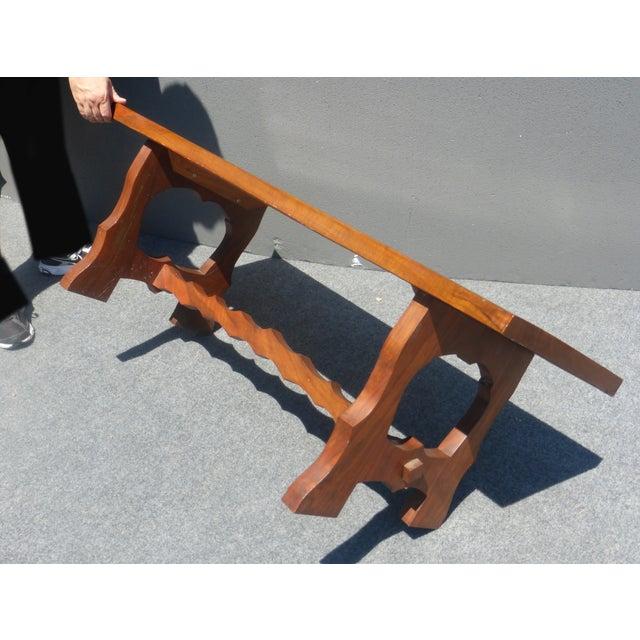Vintage Arts & Crafts Solid Wood Walnut Bench - Image 6 of 8