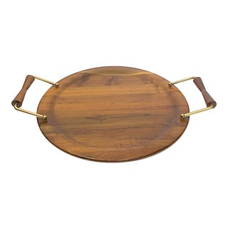 Mid-Century Modern Wooden Tray with Brass & Wooden Handles