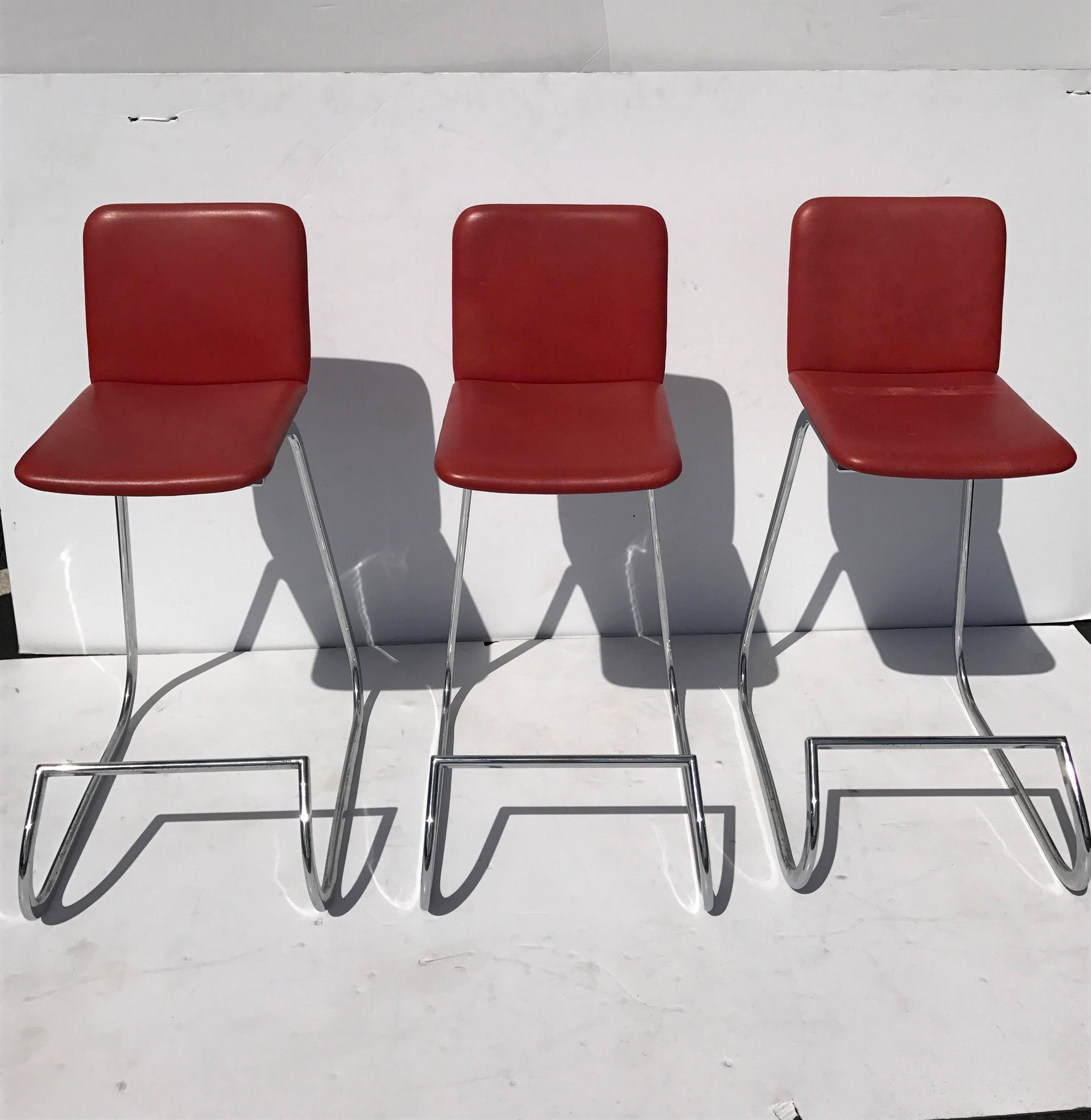 Stendig Metal Amp Faux Leather Bar Stools Set Of 3 Chairish