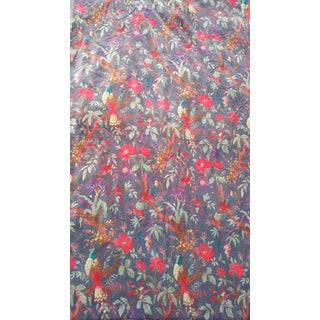 Velvet Fabric,Soft Grey With Vibrant Bird Design
