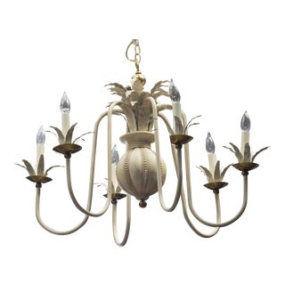 1960's White Wash Iron and Brass 6 Arm Chandelier
