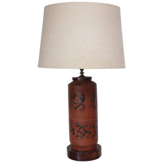 Rust Red Ceramic Table Lamp with Primitive Motif