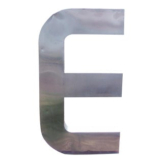 "Antique Industrial Stainless Steel Metal Letter ""E"""