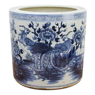 Antique Ceramic Blue & White Planter