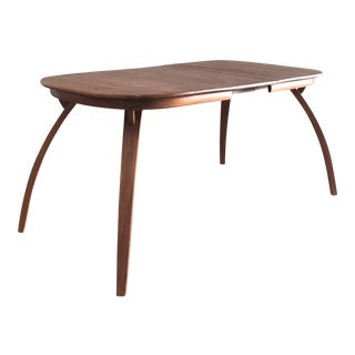 Mid-Century Modern Wooden Dining Table With Curved Legs