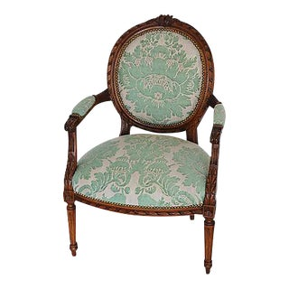 Antique Italian Carved Oak & Mariano Fortuny Vivaldi Fabric Armchair