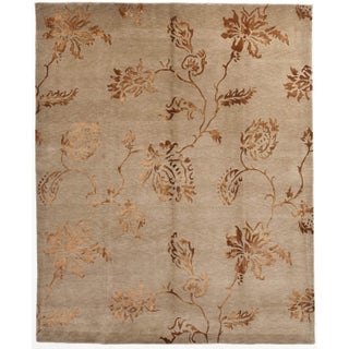 """Hand-Knotted Copper Floral Rug - 8' X 9'10"""""""