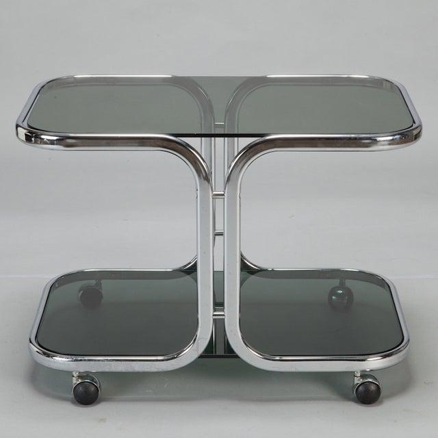 Mid-Century Black Glass Chrome Bar Cart - Image 3 of 6