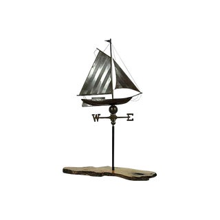 Vintage Copper Sailboat Weathervane on Stand