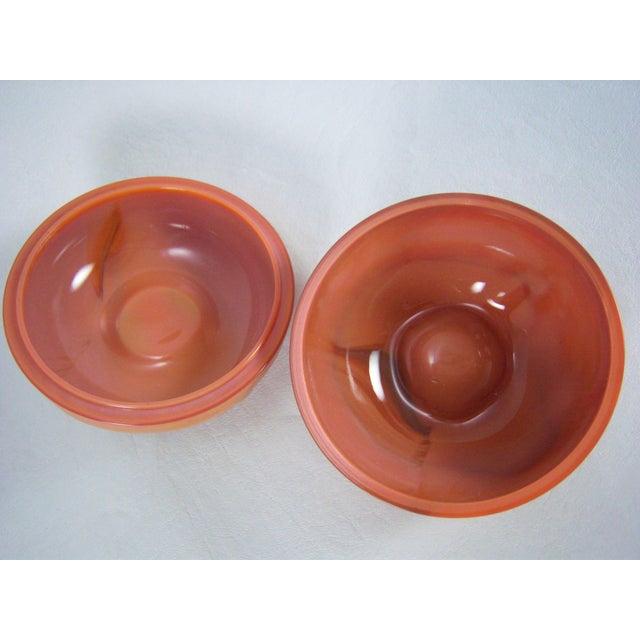 Slag Glass Peach Shaped Box Vintage - Image 7 of 8