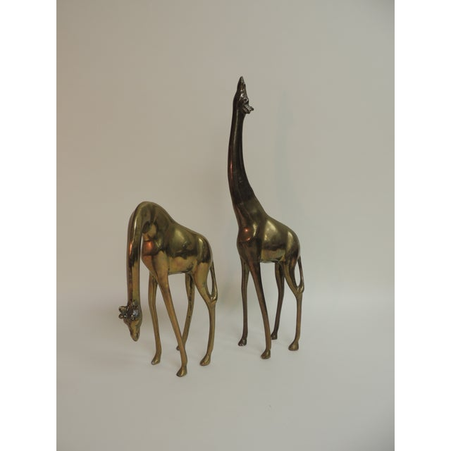 Mid-Century Modern Asian Brass Giraffes - A Pair - Image 2 of 4